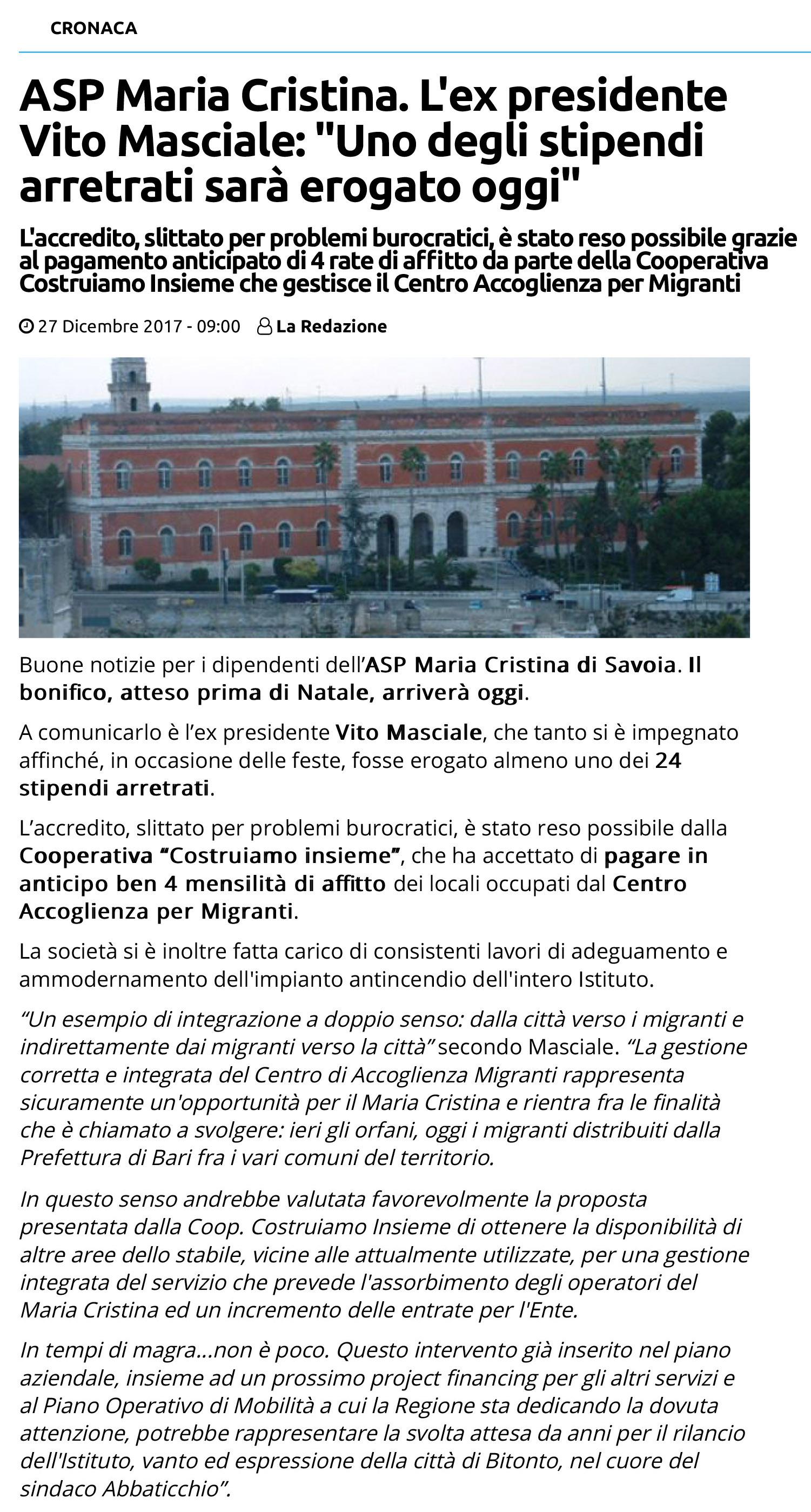 Nuovo articolo m. Cristina